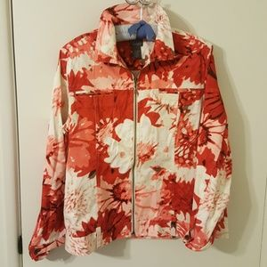 Chico's floral Jean jacket